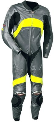 $299.00 - Yellow and Grey Motorcycle Leather Suit