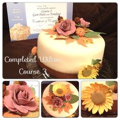 My Wilton Course 3 Final Cake!  Fall gum paste flowers; roses, mums, sunflowers, leaves and acorns.