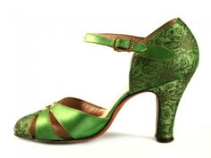 Lime Jello Colored Satin Shoes with Golden Flower Designs from the 1930`s.