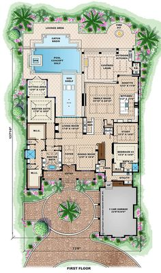 Houseplans.com Beach Main Floor Plan Plan #27-462