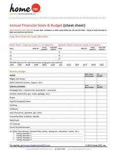 Printable Home CEO Family Budget Form. One page quick view.