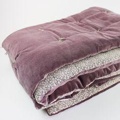 Edredon bout de lit en velours Violet Tosca En fil d'indienne