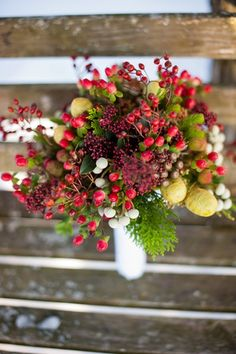 Berries: For fabulous texture, try an all-berry #bouquet using snowberries, hypericum berries, or berzillia berries. {Elizabeth & Jane Photography}