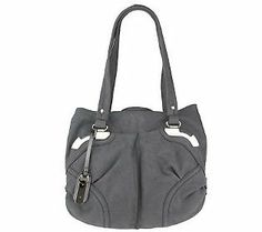 B. Makowsky Shimmer Leather Snap Top Tote with Patent Trim