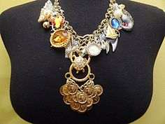 NEW! Vintage Necklace Runway Mermaid Coins Watches Shells Shinny Trinkets Gems  By VintElegance.com