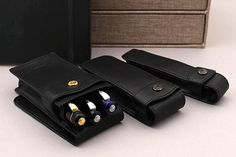 These classic neat's leather cases hold one, two, or three Kaweco pen. Many types of pens will fit in the cases, including Kaweco Dia2 and Student fountain pens.