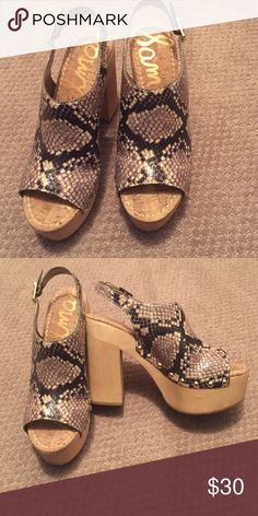 Sam Edelman sandals Sam Edelman faux snakeskin sandals.  Wood 5 inch chunky heel and 2 inch platform in front. Open toe and open back. Worn once. Sam Edelman Shoes Platforms