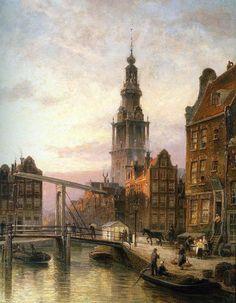 The Zuider Kerk at Dusk, Amsterdam by Cornelis Christiaan Dommelshuizen (ARC) Amsterdam, Urban Life, Urban Art, Monet, Watercolor Architecture, Medieval Life, Dutch Painters, Art World, Landscape Paintings