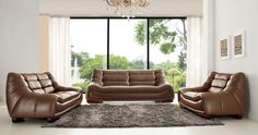 Costando - Modern Sofa Set in Brown Leather