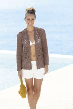 This is a crochet pattern for a long jacket and a short jacket from Sirdar made in Sirdar Cotton DK Short Jacket Size 32 34 36 38 40 42 44 46 48 50 Crochet Cardigan Pattern, Crochet Jacket, Crochet Patterns, Knitting Patterns, Crochet Ideas, Cotton Cardigan, Ribbed Sweater, Cotton Crochet, Knit Crochet