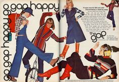 """Vintage GAP (""""the gap"""") spread from the August 1976 issue of Seventeen"""