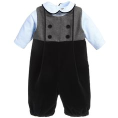 Baby boys adorable 2 piece outfit byLa Stupenderia. It has a navy blue and grey sleeveless romper with bubble shaped, velvet trousers and covered buttons on the chest. It is fully lined in soft cotton and fastens at the back with a concealed zip. The little pale blue top that sits underneath is made from cotton pique with matching navy blue trim around the collar. It fastens at the back with buttons and between the legs with poppers to keep baby warm and help keep a nappy in place.<br ...