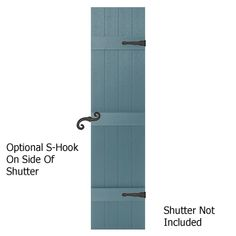 Decorative Faux Hinges and Holdbacks for Exterior Shutters on a Board and Batten Shutter