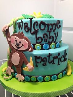 monkey business - this was definitely a work of love.a lemon raspberry baby shower cake for my daughter in law to celebrate the upcoming arrival of my FIRST GRANDCHILD! Baby Shower Cakes For Boys, Boy Baby Shower Themes, Baby Boy Shower, Baby Showers, Cupcake Cookies, Cupcakes, Cupcake Queen, Monkey Business, Cake Art