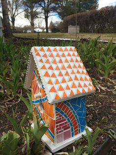 Bird house for a friend who loves the color orange. Made by Cheri
