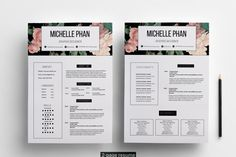 Floral 2 page CV template / resume template By Chic templates                                                                                                                                                                                 More