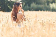 колосья, лето, поле, девушка, профиль