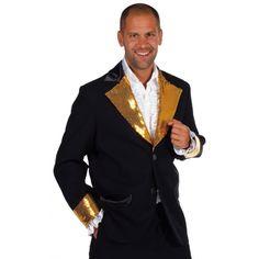 Glitter colbert voor heren in de kleur zwart met goud. Deze zwart & goud colbert is verkrijgbaar in diverse maten. Deze chique zwarte colbert is van hoge kwaliteit en perfect te dragen tijdens een chique feest of te gebruiken als presentatie jas.