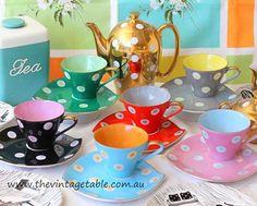 I'm dotty about our vintage retro polka dot tea set.
