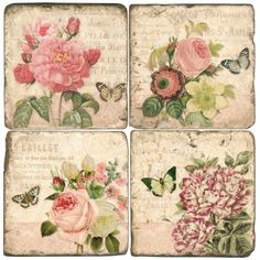 rose tiles. So cute and shabby chic to use as drink coasters.  Also, very easy to imitate by mod podging pics on tile and sealing with polycrylic. -Dyane