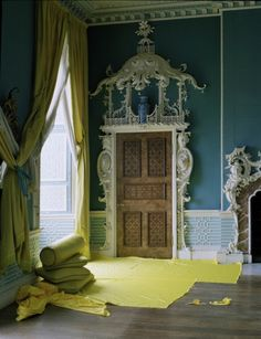 Chinese Tearoom with Yellow Satin, Buckinghamshire, UK 2011 Tim Walker Photograph for Italian Vogue