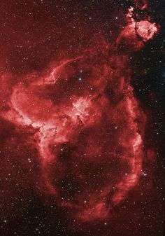 IC1805 - The Heart Nebula lies some 7500 light years away from Earth and is located in the Perseus Arm of the Galaxy in the constellation Cassiopeia. This is an emission nebula showing glowing gas and darker dust lanes. The nebula is formed by plasma of ionized hydrogen and free electrons. Wiki.