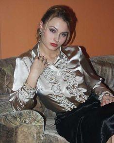 Satin Top, Satin Skirt, Satin Dresses, Silk Satin, Corset Dresses, Sexy Blouse, Blouse And Skirt, Blouse Dress, Ruffle Blouse