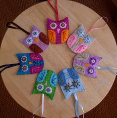 Owl felt ornaments