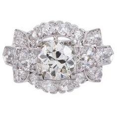1.27 Carat Old European Cut Diamond Platinum Center Cluster Ring  £8,578