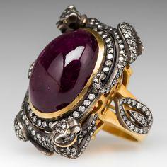 KK Designer Rubellite Tourmaline Diamond Cocktail Ring