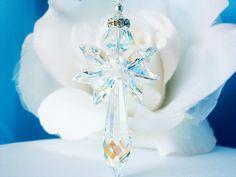 Crystal Angel Suncatcher Car Charm created with Swarovski Aurora Borealis Crystals.