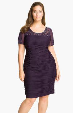Adrianna Papell Beaded Illusion Ruched Dress (Plus) Ruche Dress cute #dressforwomen #nicedress #kelly751 #RucheDress #Ruche #Dresses  www.2dayslook.com
