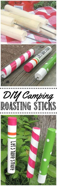 Create your own DIY custom roasting sticks!  Lots of fun for camping or backyard marshmallow roasts!    #camping #campfire #summercrafts #DIY #kidscrafts #summerideasforkids