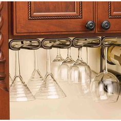 Wine Glass Holders that I can add on from Bed Bath & Beyond Rev-A-Shelf - - 11 in. Oil Rubbed Bronze Under Cabinet Quad Wine Glass Holder Hanging Wine Glass Rack, Wine Glass Shelf, Wine Glass Holder, Hanging Racks, Glass Shelves, Wine Shelves, Wine Wall, Wine Bottle Rack, Wine Racks