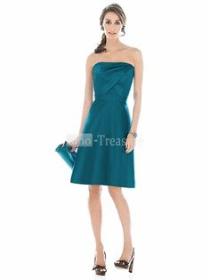 Teal Strapless Column /Taffeta Bridesmaid Dress, and comes in both teal and fuchsia