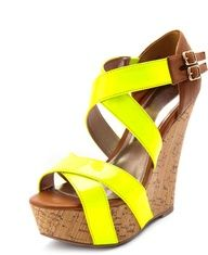 Neon Strap Faux-Cork Wedge