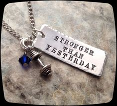 Exercise Necklace,  Weight Lifting, Exercise, cross fit, Trainer, Personal Trainer, HandStamped Jewelry by ThatKindaGirl on Etsy https://www.etsy.com/listing/198420278/exercise-necklace-weight-lifting