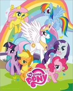 My Little Pony Freindship is Magic Mane 6 & Princess Celestia Group Mini Poster Invitaciones My Little Pony, Cumple My Little Pony, My Little Pony Birthday, 5th Birthday, Coloring Books, Coloring Pages, Colouring, Princesa Celestia, My Little Pony Poster