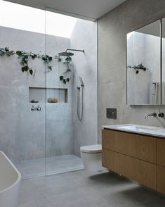 "STUDIO BLACK INTERIORS on Instagram: ""⁣ Showering under a ray of natural light and cascading plants. Yes please. ⁣ ⁣ Blairgowrie Ocean House ⁣ Designed by…"" Beach House Bathroom, Small Bathroom, Marble Bathrooms, Dream Bathrooms, Bathroom Feature Wall, Light Grey Bathrooms, Colorful Bathroom, Beach Bathrooms, Ensuite Bathrooms"