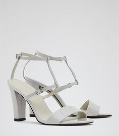 Womens Pale Grey T-bar Sandals - Reiss Sienna