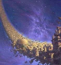 Treasure Planet Spaceport shaped like the crescent moon