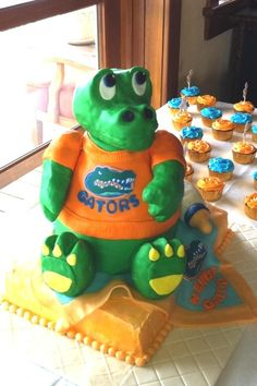 Florida gator baby shower decorations florida gators cake topper blue and orange baby shower - Florida gators bathroom decor ...