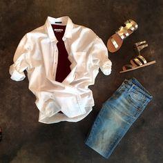 Frank & Eileen Barry Shirt, Stonewash Denim   Isabel Marant Etoile 'Kranger' Tee Shirt (In store only)   R13 Kate Skinny Jean, Kingston   Ancient Greek Sandals 'Agapi'