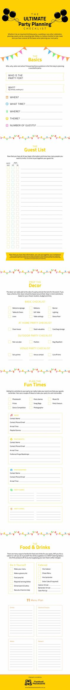 "Planning a party? Let our party expertise help you cover all the bases! Our infographic ""the ultimate party planning checklist"" will guide you through! Party Planning Checklist, Planning Budget, Event Planning Business, Wedding Planning, Checklist Template, Diy Party, Ideas Party, Party Time, Diys"