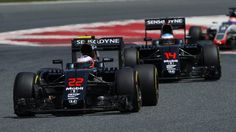 Jenson Button (GBR) McLaren MP4-31 leads Fernando Alonso (ESP) McLaren MP4-31 at Formula One World Championship, Rd5, Spanish Grand Prix, Race, Barcelona, Spain, Sunday 15 May 2016. © Sutton Images