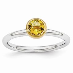 Sterling Silver Stackable Expressions w/Gold-plate Citrine Ring