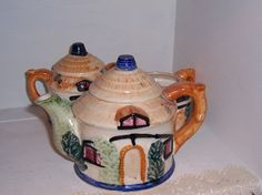 Cottage Tea Pot Creamer and Sugar Bowl by BuffsEmporium on Etsy, $20.00