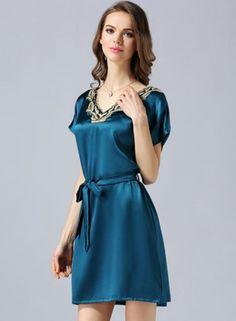 94d9040b55a63 Women s Comfortable Pure Mulberry Silk Short Sleeve Nightgown -  FANCYSILKSLEEP.COM