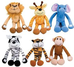 """7.5"""" Zoo Animals Plush with Hook and Loop Closure"""