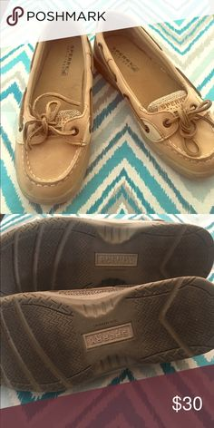 Sperry Top-Sider kids size 2 Super adorable Top-Sider boat shoes. Girls size 2. Worn once by a kiddo who decided she didn't like them. They fit me (size kids 3) a little tight otherwise I'd keep them for me. Sperry Shoes Sneakers